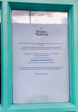 Vivienne Westwood Shop Temporarily closed during lockdown