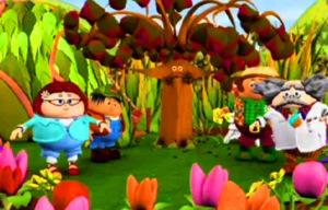 CGI Interpretation of The Beep-Beep Tree. Photo of Bossy-Beep, Yuk, Leafy-Beep and Brainy-Beep all dancing with the Beep-Beep Tree! x