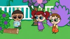 Rafe, Ellie, Mik and goldfish in a garden of Jarm
