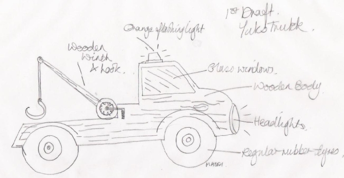 mb first pencil sketch yuks truck