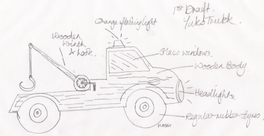 mb first pencil sketch yuks truck