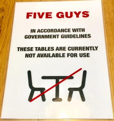 5 guys socially distant non-dining