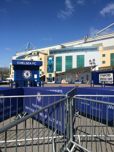 """""""Blue is the colour, football is the game, We're all together, and winning is our aim, So cheer us on through the sun and rain, 'cause Chelsea, Chelsea is our name."""""""