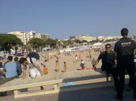 Cannes Beach right beside MIP Palais de Festivals