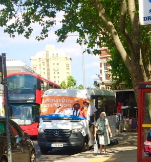 Vaccination Bus parked